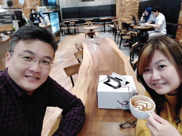 Coffee time with my wife Lea on my birthday this year.