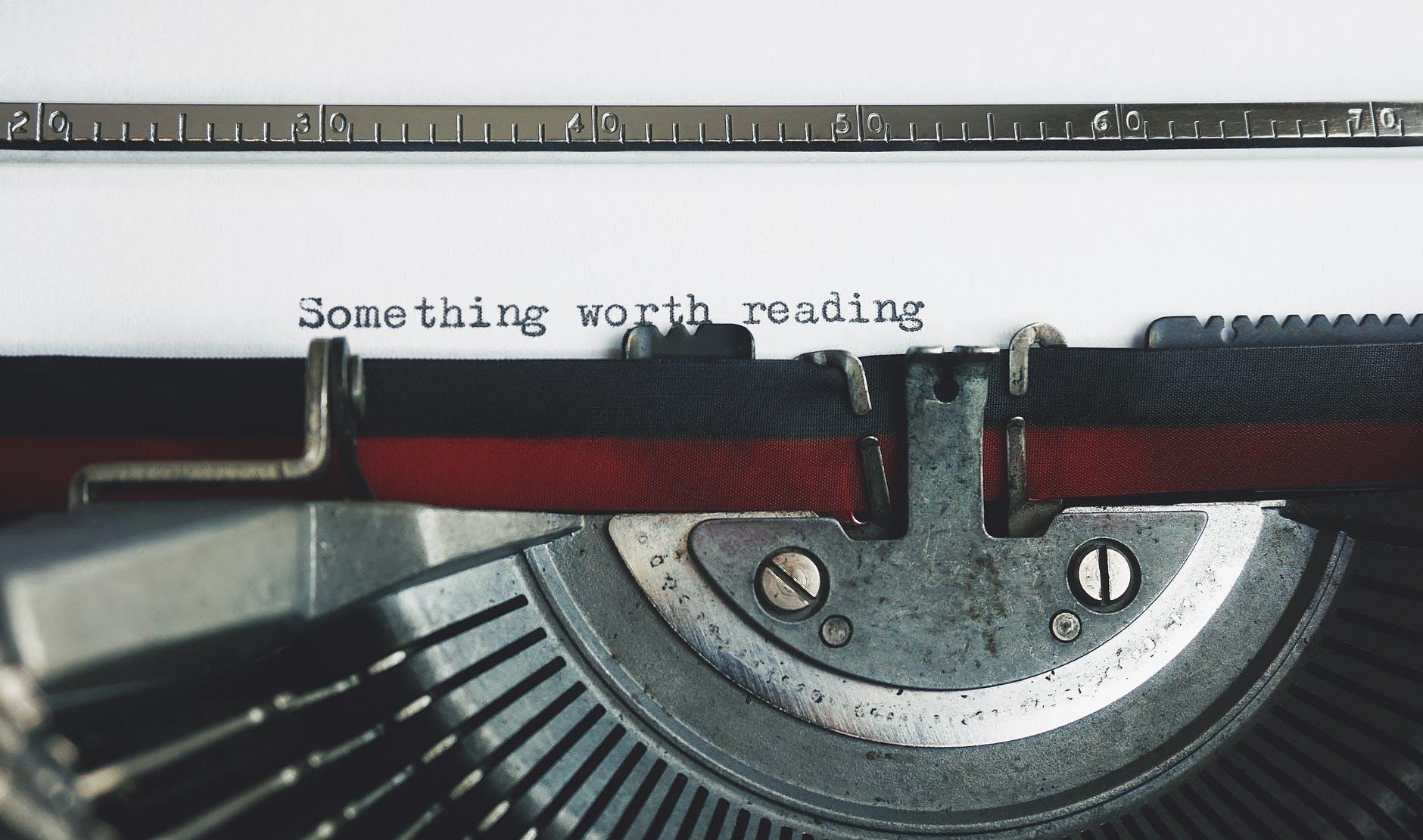 ...and something worth writing.